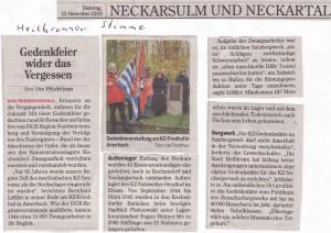 Artikel aus der Heilbronner Stimme (Ausgabe NM) vom 10.11.09