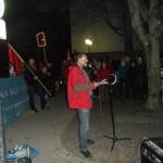 Kreisrat Müllerschön sprach am 30.10.15 zu Fluchtursachen, auf der Kundgebung gegen die AfD. Bild: Jürgen Patzelt.