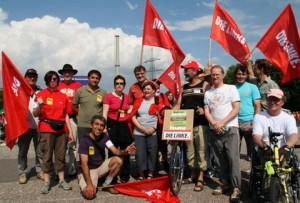 Die Delegation der LINKEN vor dem GKN Neckarwestheim