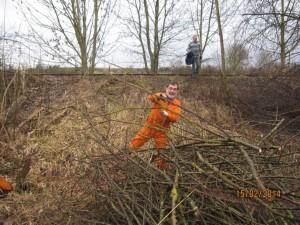 Endlich was praktisches tun für einen besseren Schienennahverkehr. Kreisrat Müllerschön beim realen Holzen für die Zabergäubahn. (Fotos: K.Wanner)