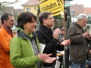 """""""Schiene Frei"""" Aktion 2012. vlnR: Kreisrat Müllerschön, Staatssekretärin Splett, Schneider (damals MdB, Grüne)"""