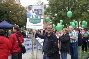 Johannes Müllerschön bei der Kundgebung gegen das Krankenhausstrukturgesetz (Foto: F. Vollert).