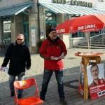 Alois und Johannes solidarisch gegen Entlassungen in Mannheim.